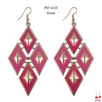 Boucles d'oreilles pendantes losanges roses et dorés