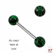 Piercing langue boules acrylique vertes à rayures noires