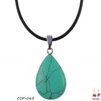 Collier à pendentif goutte d'eau en pierre de turquoise