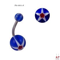 Piercing nombril à boules acryliques étoiles et fleurs rouges et bleues