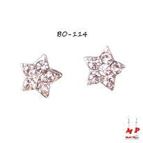 Boucles d'oreilles argentées à étoiles serties de strass blanc cristal