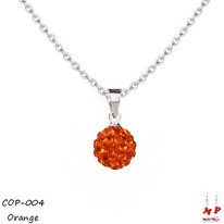 Collier à pendentif shamballa orange