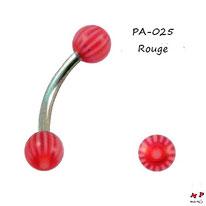 Piercing arcade boules acrylique à rayons rouges