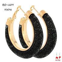 Boucles d'oreilles anneaux dorés stardust noirs et strass