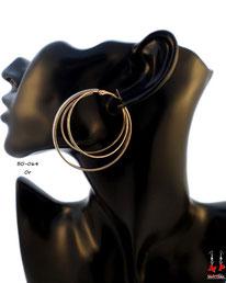 Boucles d'oreilles triple anneaux dorés