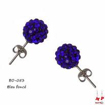 Boucles d'oreilles perles rondes shamballa bleues foncées