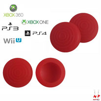 Paire de grips de protection rouges à ronds adaptables en silicone pour joysticks de PS3, PS4, Xbox 360, Xbox One et Nintendo Wii U