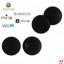 Paire de grips de protection noirs à ronds adaptables en silicone pour joysticks de PS3, PS4, Xbox 360, Xbox One et Nintendo Wii U