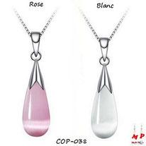 Collier à pendentif goutte d'eau opale rose ou blanche