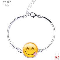 Bracelet argenté à emoji LoL tour de poignet