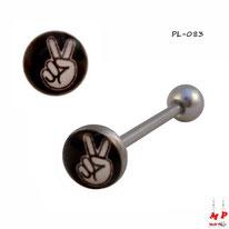 Piercing langue logo cool à la main blanche et noire en acier inox