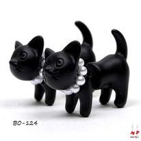 Boucles d'oreilles chat noir 3D