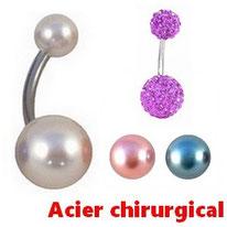 Piercings nombril boules nacrées ou shamballa et acier chirurgical