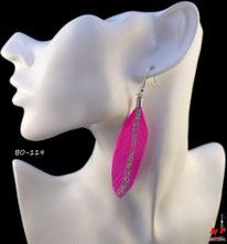 Boucles d'oreilles pendantes plumes fushia et paillettes argentées