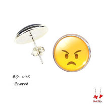 Boucles d'oreilles puces rondes à emoji énervé jaune