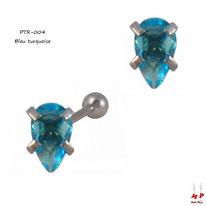 Piercing tragus et cartilage à strass ovale bleu turquoise en acier chirurgical