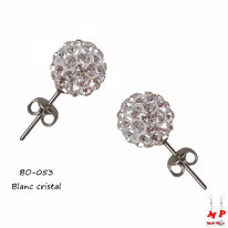 Boucles d'oreilles perles rondes shamballa blanches cristal