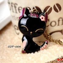 Collier à pendentif chat noir et sa petite fleur rose