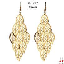 Boucles d'oreilles pendantes feuilles dorées ou argentées