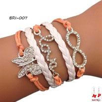Bracelet infini saumon à symboles papillon et love sertis de strass et bracelet similicuir