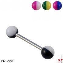 piercings langue boules acrylique bicolores