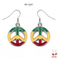 Boucles d'oreilles pendantes rondes Peace and Love rasta
