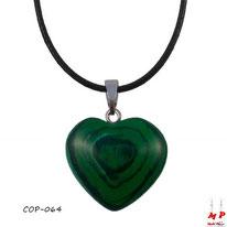 Collier à pendentif coeur en pierre de malachite stone