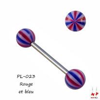 Piercing langue boules ballons de plage rouges et bleus