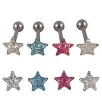 Boucles d'oreilles étoiles cristal 4 couleurs