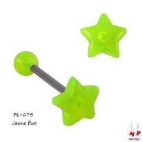 Piercing langue étoile jaune fluo en acrylique