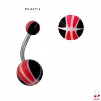 Piercing nombril à boules acryliques ballons de basket rouges et noirs