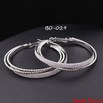 Boucles d'oreilles triples anneaux argentés collés