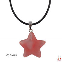 Pendentif étoile en pierre quartz cerise