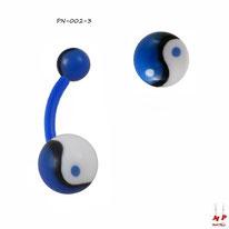 Piercing nombril bioflex à boules acryliques yin yang bleues et blanches