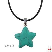 Pendentif étoile en pierre turquoise
