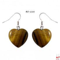 Boucles d'oreilles pendantes coeurs en pierre d'oeil de tigre et crochets argentés