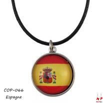 Collier à pendentif rond modèle drapeau de l'Espagne en verre