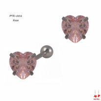 Piercing tragus et cartilage coeur en strass rose 6mm