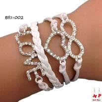 Bracelet infini blanc en similicuir à breloques love, coeur et infini sertis de strass