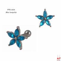 Piercing tragus et cartilage à fleur sertie de strass bleu turquoise et tige en acier
