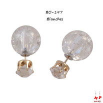 Boucles d'oreilles doules perles fissurées à strass blanches cristal