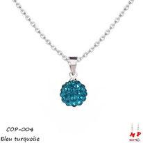 Collier à pendentif perle ronde shamballa bleu turquoise