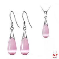 Parure boucles d'oreilles et pendentif goutte d'eau rose opale