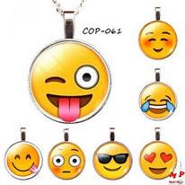 Collier à pendentif émoji smiley 7 modèles en métal et verre