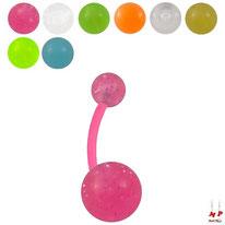Piercings nombrils bioflex à boules acryliques unicolores translucides