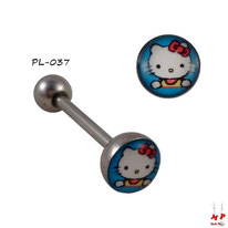 Piercing langue boule plate bleue et logo Hello Kitty