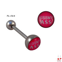 Piercing langue logo kiss my ass en acier inox