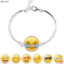 Bracelets argentés à emoji emoticônes ronds 7 modèles