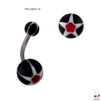 Piercing nombril à boules acryliques étoiles et fleurs blanches, rouges et noires