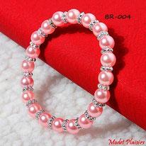 Bracelet de perles roses elastique